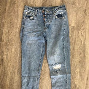 Straight Jeans w/ Rips and Buttons